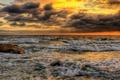 Картинка море, волны, небо, тучи, шторм, камень, hdr, зарево