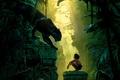 Картинка лианы, Багира, Bagheera, обезьяны, пантера, Книга джунглей, Маугли, The Jungle Book, развалины, Mowgli, птицы, фэнтези, ...
