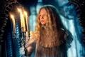 Картинка skull, snow, candle, yuki, movie, woman, Mia Wasikowska, actress, film, cinema, suspense, Edith Cushing, blonde, ...