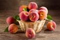 Картинка листья, корзина, еда, персики