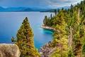 Картинка камни, горы, деревья, озеро, Lake Tahoe, Тахо, Калифорния, лес, США