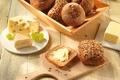 Картинка семечки, масло, доска, кунжут, хлеб, сыр, булочки, еда, виноград