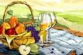 Картинка вектор, бокал, корзинка, вино, рисунок, натюрморт, фрукты, еда, груши, яблоки, виноград, пейзаж