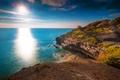 Картинка море, Кап-д'Агд, Франция, солнце, скалы, мыс, пейзаж