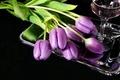 Картинка цветы, поднос, вино, тюльпаны, бокал