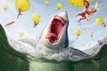 Картинка Акула, парашют, люди
