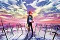Картинка оружие, арт, парень, emiya shirou, аниме, magicians, мечи, fate stay night, небо, облака, закат