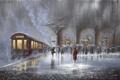 Картинка двое, картина, Jeff Rowland, люди, ливень, дождь, мужчина, вокзал, поезд, встреча, зонтики, женщина, вагон, перрон