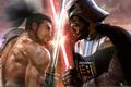 Картинка Darth vader vs самурай, звездные войны, мечи, катана, битва