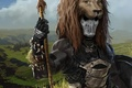 Картинка голова, грива, оружие, небо, трафей, Воин, маска, лев, облака, доспех