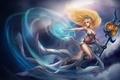 Картинка магия, арт, девушка, knockwurst, Janna, посох, эльфийка, тату, League of Legends
