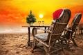Картинка песок, море, пляж, закат, Christmas, beach, sea, sand, New Year, Happy, C Новым Годом