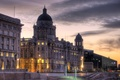 Картинка Liverpool, вечер, здание, фонари, HDR, Англия