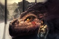 Картинка дракон, мужчина, горы, скалы, dragon rider, наездник