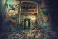 Картинка птицы, яблоки, девушка, корзина, заброшенный дом