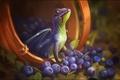 Картинка Александра Хитрова, фентези, GaudiBuendia, арт, дракончик, дракон, ягоды