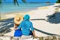 Картинка пара, море, отдых, пальма, прогулка, тропики, пляж