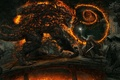 Картинка горгульи, battle, Gandalf, The Lord of the Rings, меч, жезл, волшебник, огонь, Властелин Колец, Балрог, ...