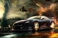Картинка обстрел, gt-r, скорость, тачка, город, смерч, nissan, car, машина, вертолеты, погоня, огонь