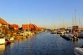 Картинка дома, бухта, яхты, лодки, канал, небо, река, пейзаж