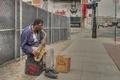 Картинка улица, человек, саксофон