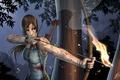 Картинка целится, оружие, хвостик, арт, стрелы, лицо, майка, волосы, кровь, Tomb raider, лара крофт, Lara Croft, ...