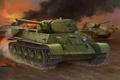 Картинка tank, ww2, T-34-1942, painting, war, art