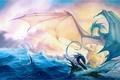 Картинка Фентези, море, корабль, драконы