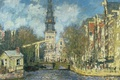 Картинка Южная Церковь в Амстердаме, городской пейзаж, картина, Клод Моне