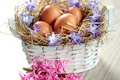 Картинка цветы, корзина, яйца, весна, пасха, flowers, spring, eggs, easter, delicate, basket, pastel