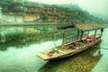 Картинка облака, горы, город, туман, река, лодка, дома, hdr