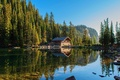 Картинка hills, river, forest, cabin, house, reflection, summer, like