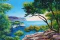 Картинка картина, Jean-Marc Janiaczyk, горы, арт, свет, деревья, море, пейзаж, ветки, камни