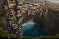 Картинка рендер, дома, пустыня, пески, город, озеро, зелень, фантастический мир, оазис