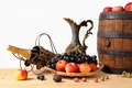 Картинка бочонок, виноград, корзинка, орехи, фрукты, яблоки, кувшин, шампанское