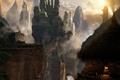 Картинка закат, горы, туман, замок, скалы, огонь, водопад, башни, ущелье, fire, хижина, очаг, sunset, mountains, rocks, ...