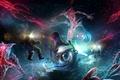 Картинка огни, Подводный мир, водолазы, существа, батискаф