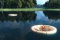 Картинка природ, озеро, девушка, арт, сооружения, линии, ткань
