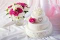 Картинка торт, праздник, букет