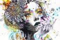 Картинка цветок, мечта, взгляд, девушка, капли, мечты, фантазия, love, голубые глаза