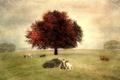 Картинка стиль, фон, пейзаж, коровы