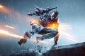 Картинка оружие, EA Digital Illusions CE, BF4, перчатки, Electronic Arts, DICE, дождь, экипировка, огни, прыжок, Battlefield ...