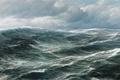 Картинка маринист, пейзаж, hugo schnars alquist, ветер, облака, волны, море