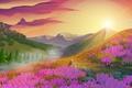 Картинка цветы, солнце, деревья, горы, пейзаж