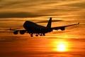 Картинка небо, закат, самолёт, пассажирский, Boeing 747