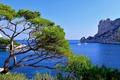 Картинка яхта, Франция, деревья, залив, бухта, море, дом, скалы
