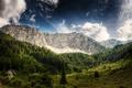 Картинка горы, Австрия, деревья, деревянный, домик, Austria, синее, облака, небо, лес