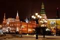Картинка башни, зима, Кремль, город, площадь, Красная, огни, музей, ночь, Москва, фонари