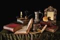 Картинка книги, трубка, огрызок, яблоко, натюрморт, зеркало, свеча, кувшин
