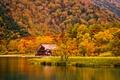 Картинка дом, река, горы, трава, деревья, берег, осень